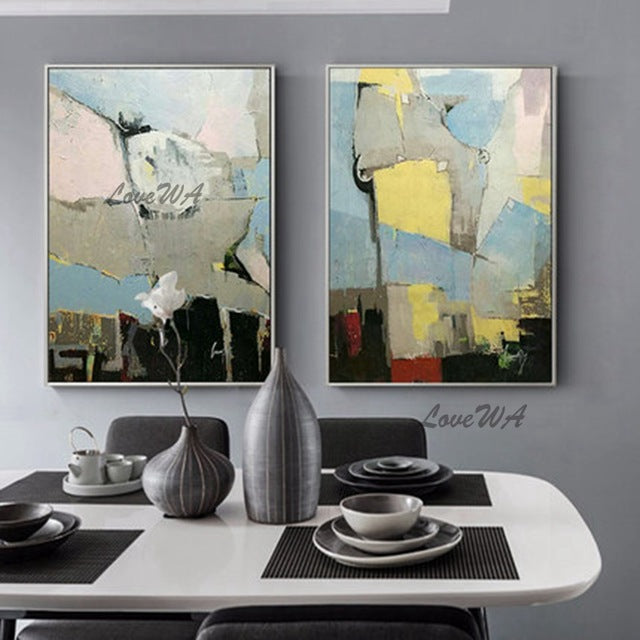 Large Size Group 2 Pcs Hand Painted Abstract Oil Painting on Canvas Wall Picture Art Living Room Home 2 Panel Wall Art Decor