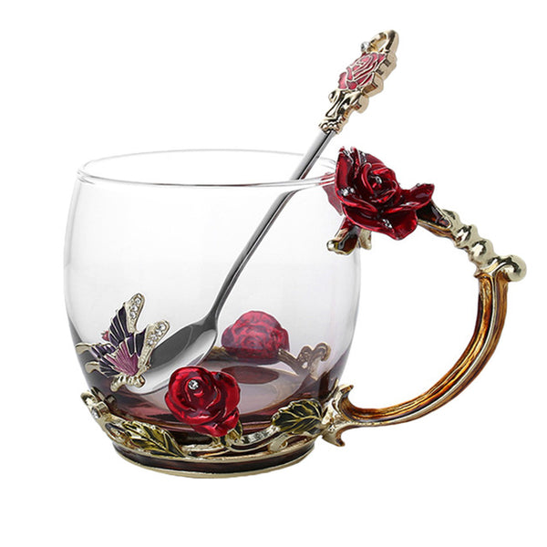 3D Rose Butterfly Glass Coffee Mug