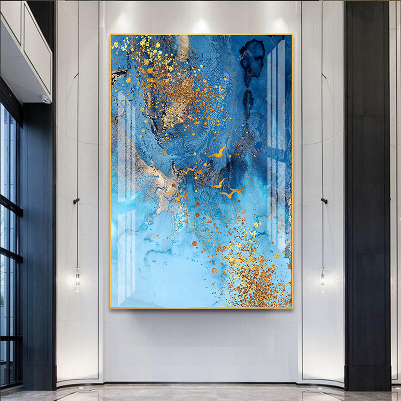 Abstract Blue Gold Foil Marble Canvas Painting Wall Art Poster and Print Large Pictures for Living Room Home Interior Decor
