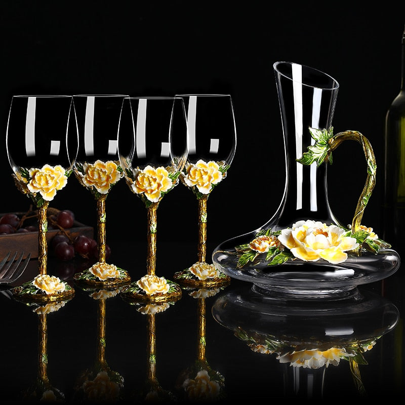 European-style Enamel Color Wine Glass Decanter Creative Personality Home Wine Glass Champagne Glass Gift Cups