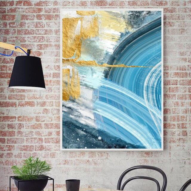 Modern Abstract Canvas Painting Poster and Print for Living Room Blue Bedroom Home Decor Picture Large Wall Art Golden Painting