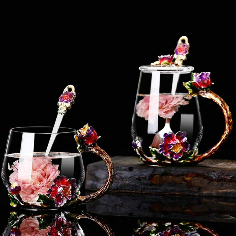 New Enamel crystal Coffee Cups and Mugs for Hot and Cold Drink Home Tea Cup Spoon Set Perfect Wedding Gift Flower Tea Glass Mug