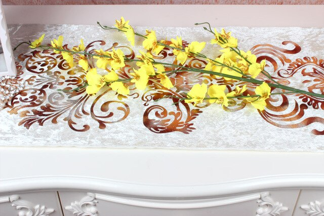 The living room bedroom high decorative fabric silk flowers orchid flower yellow blue white blue dance dance