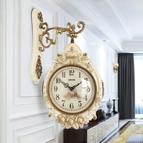 Double-sided Large Wall Clock European Retro Luxury Living Room Art Wall Clock Silent Reloj De Pared Vintage Home Decor MM60WC