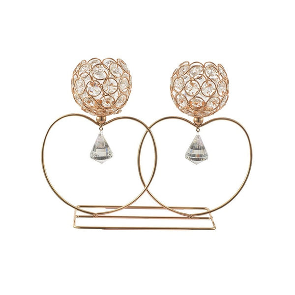 European 2 Arms Heart Crystal Candle Holders Candle