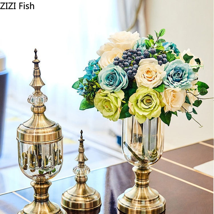 2 Pcs/set European Retro Glass Vase Gold Metal Crafts Decorative Floral Vases Desktop Ornaments Flower Insert Antique Home Decor