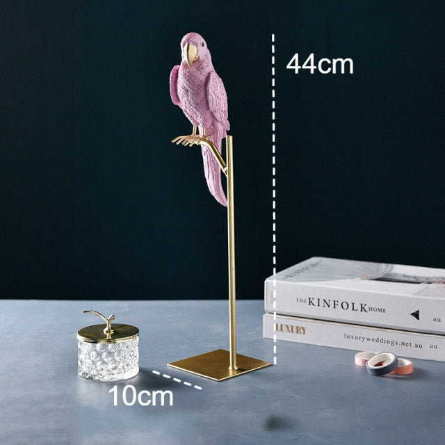Nordic Creative Resin Simulated Animal Parrot Bird Crafts Ornaments Gold Modern Home Desktop Decoration Miniature Figurines