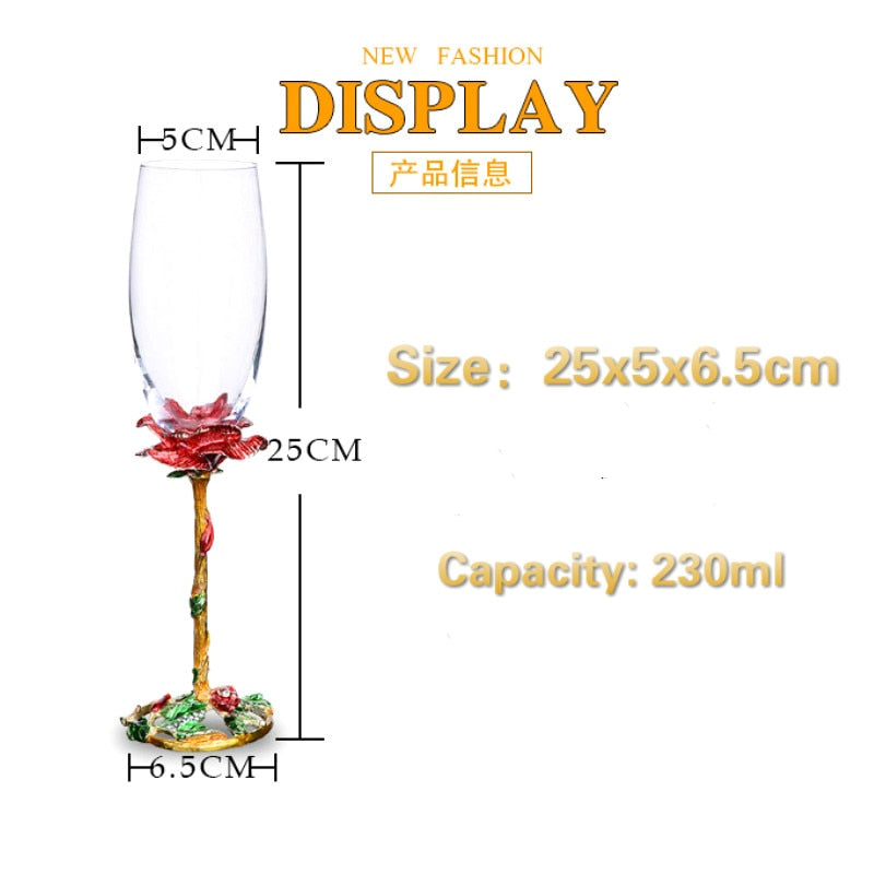 2pcs Set Creative Enamel Champagne Glass Wine Glass Crystal Glass Luxury Wedding Banquet Toast Glass High-end Wine Gift box Set