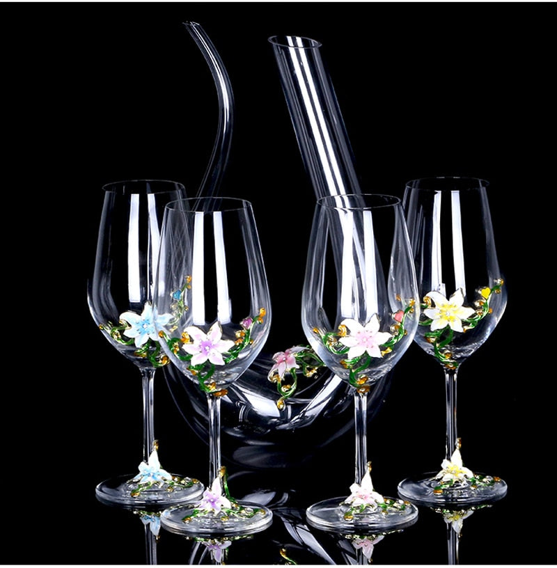 Enamel lead-free crystal glass red wine glass wakeup set Wine Glass cup Champagne Cup wedding gifts home Drinking utensils