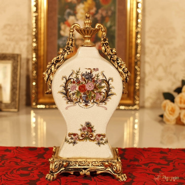 christmas Retro Home Furnishing European decorative  clock imitation vase room creative classic luxury tabletop watch vase