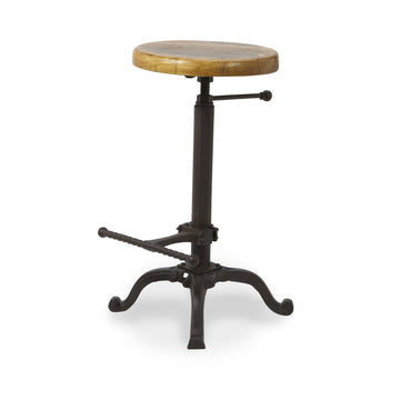 Adjustable Bar Stool with Reclaimed Wood Seat
