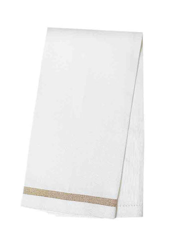 Afina Linen Guest Towels Ivory with Gold - Set of 6