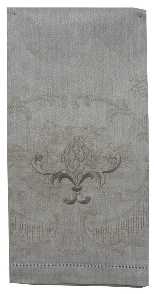 Alena Linen Guest Towel Beige Embroidered Pineapple Design - Set of 4