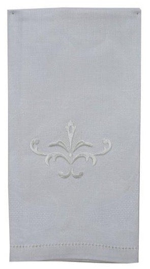 Alena Linen Guest Towel White Embroidered Decorative Design - Set of 4