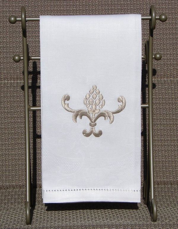 Alena Linen Guest Towel White Embroidered Pineapple Design  - Set of 4