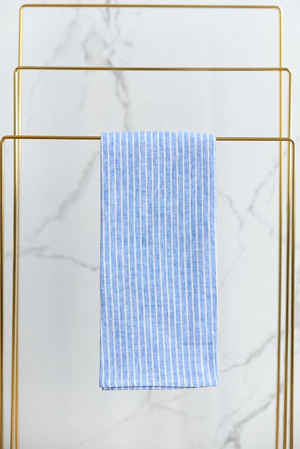 Amilia Striped Guest Towel White with Blue - Set of 6