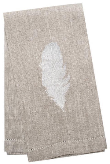 Atlas Linen Guest Towel Natural Embroidered Feather White - Set of 4