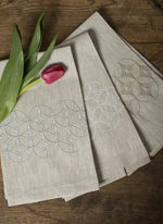 Atlas Linen Guest Towel Natural Plain Hem Embroidered Diamonds - Set of 4