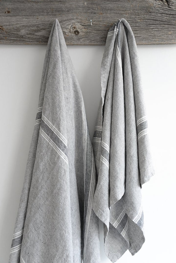 Casa Bath Towel Charcoal with White and Black Stripes