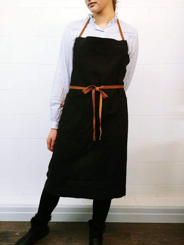 Chef Works Apron in Black with Leather Straps