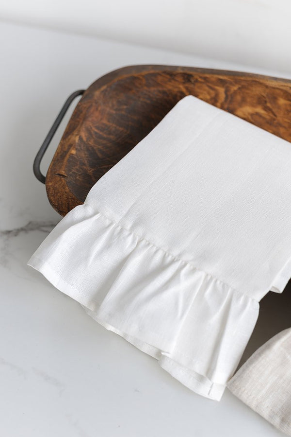 Como Guest Towel with Ruffled Border - Set of 6 - Choice of 3 Colours