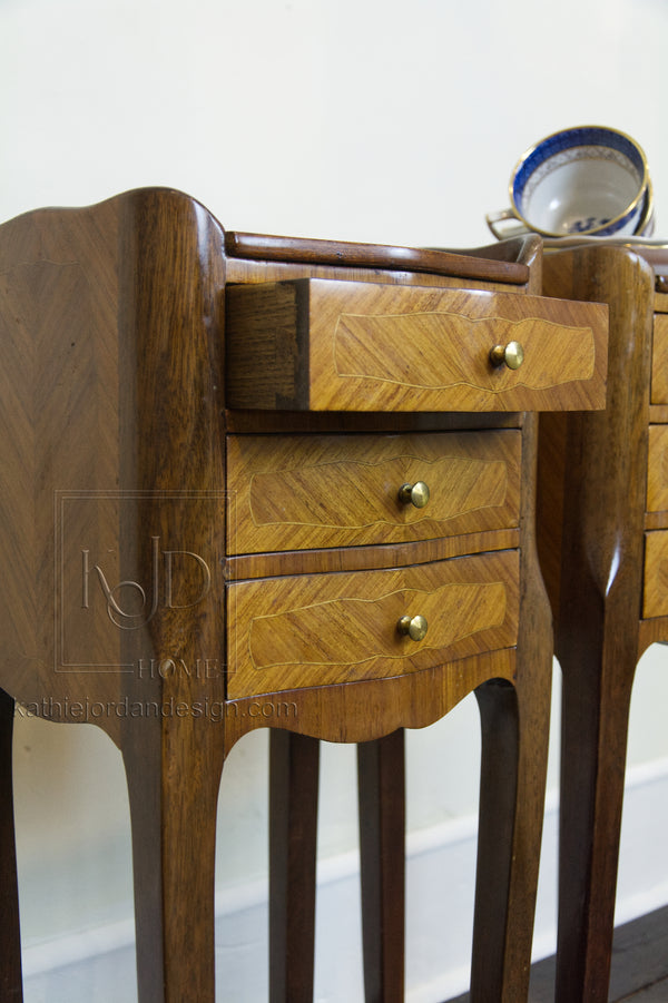 SOLD - Louis XV - Pair of French Marquetry End Tables