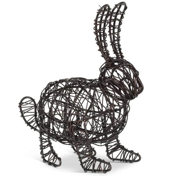 Medium Woven Crouching Rabbit