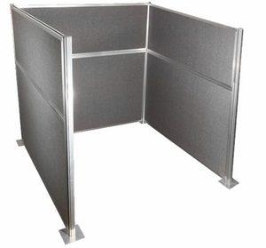 Charcoal Grey 6' by 6' Pre-Configured Hush Panel Cubicle (U Shape) (price does not include shipping, assembly or taxes)