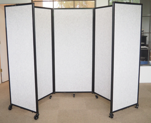 "Marble Grey 5' high and 8'6"" wide SoundSorb Room Divider 360 Folding Portable Partition"