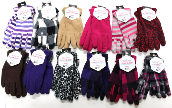 Young Women's Fleece Gloves(5-pack) Fun Colors & Patterns, Guaranteed 4-Different Colors/Patterns!