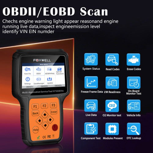 Foxwell NT650 Elite Multi-Application OBD Service Tool with 11 Special Functions