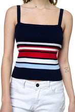Load image into Gallery viewer, Stripe Sweater Cropped Top