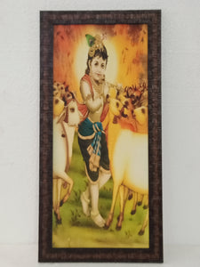 mate finesh cool painting Krishna inches 19×9 frame