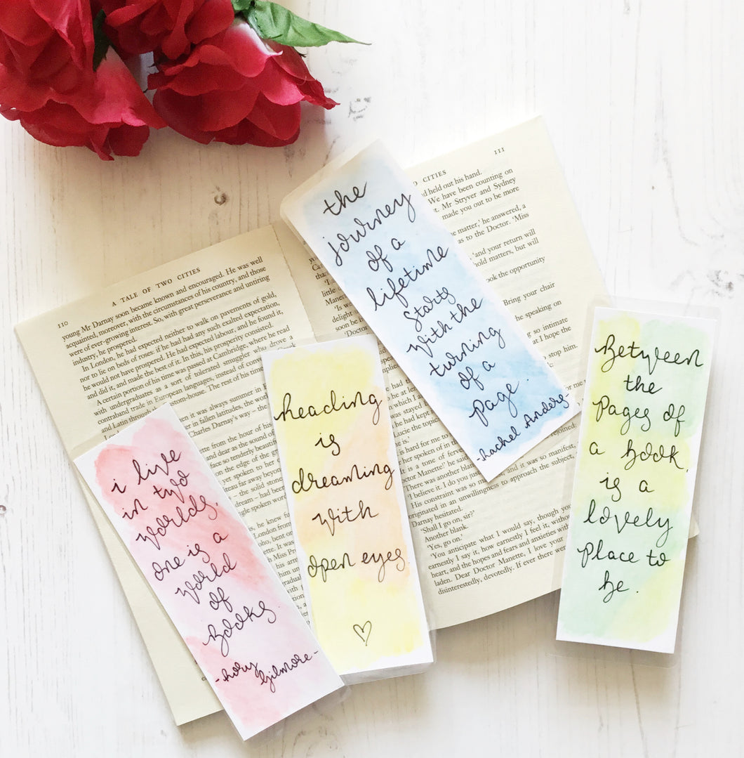 Book Lover Water Colour Bookmarks