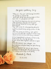 Load image into Gallery viewer, Hand Lettered Wedding Poem