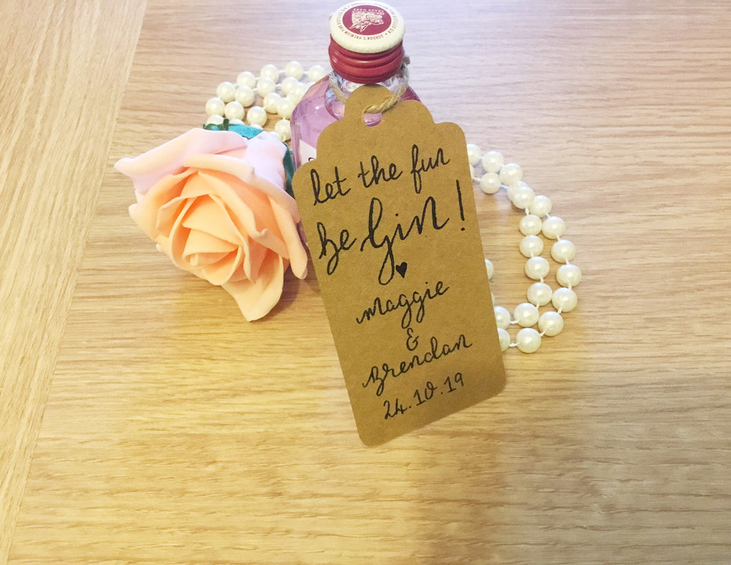 Gin wedding favour tags