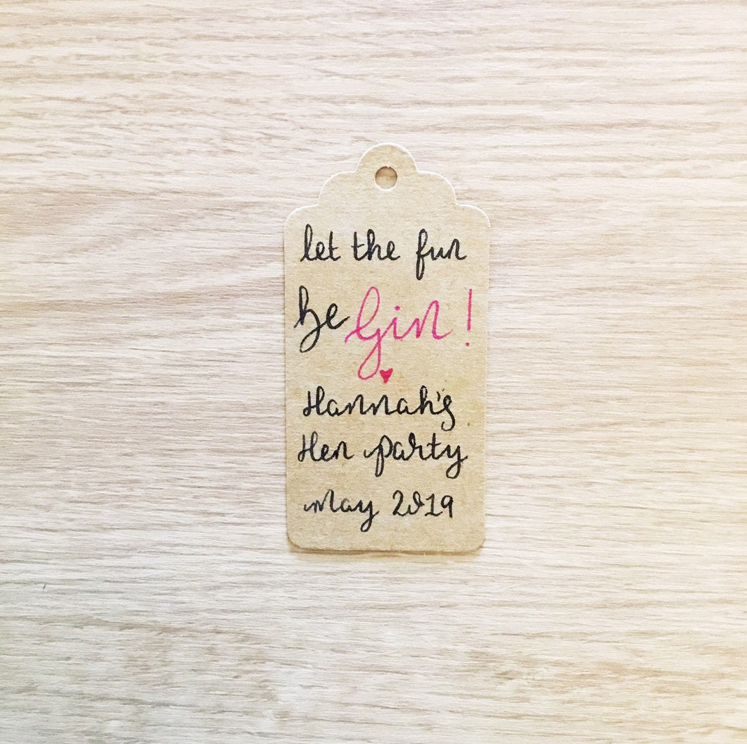 Gin Hen Party Favour Tags