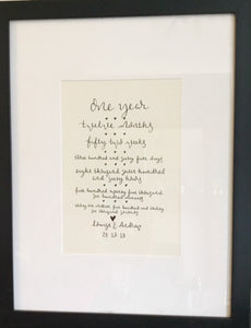 First Anniversary Paper Personalised Wall Art