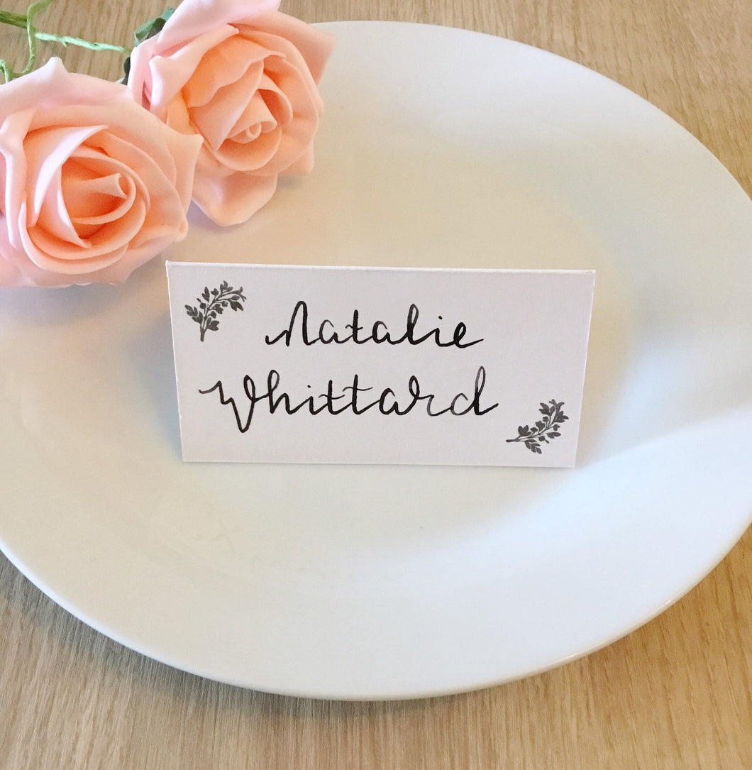 Wedding Place Cards with Foliage Detail