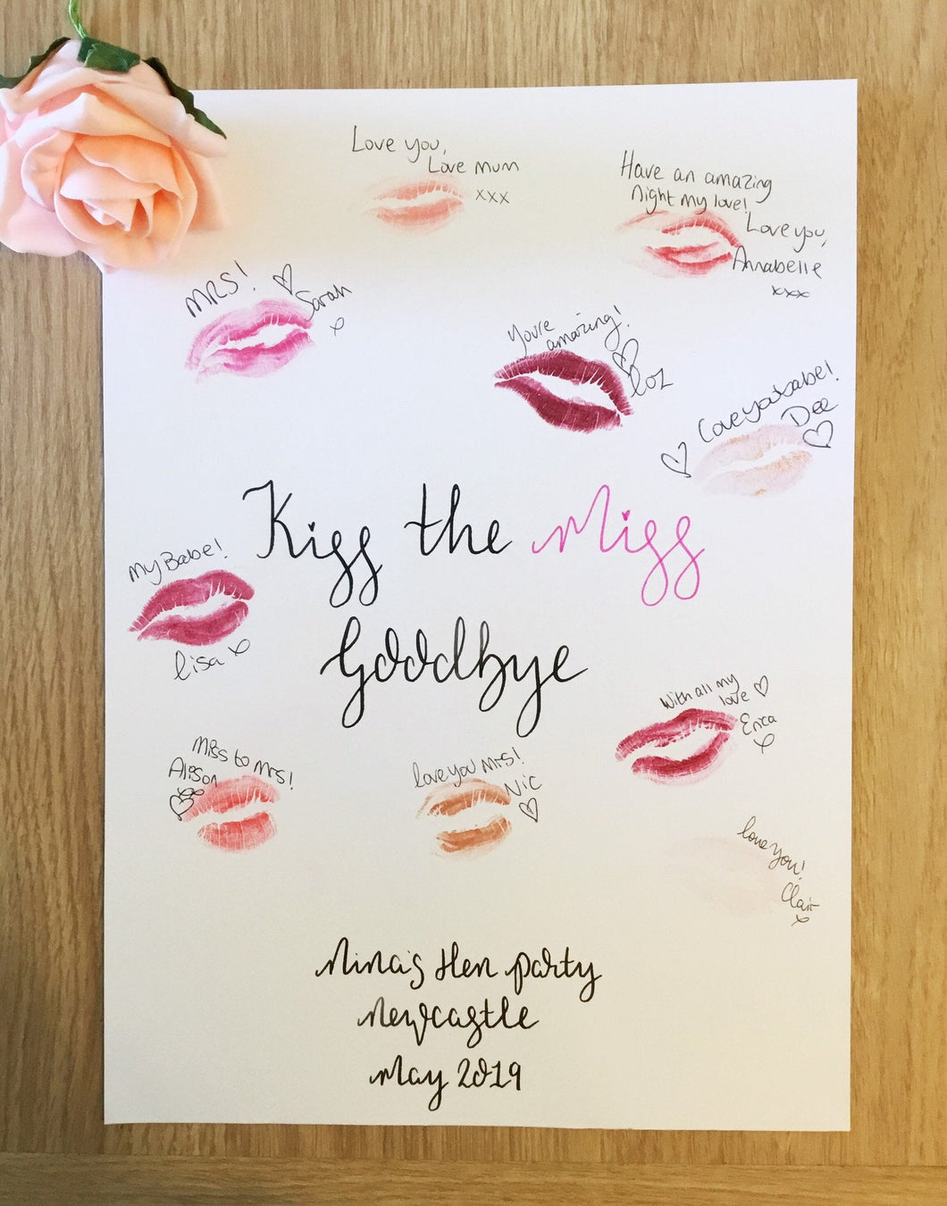 Kiss The Miss Goodbye Personalised Hen Night Gift
