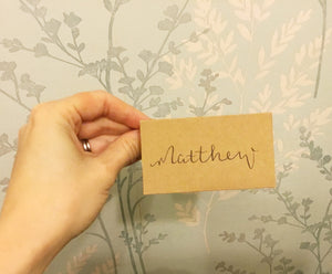 Kraft brown wedding place cards