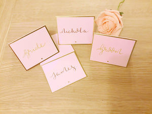 Dusky Pink and Gold Wedding Place Cards