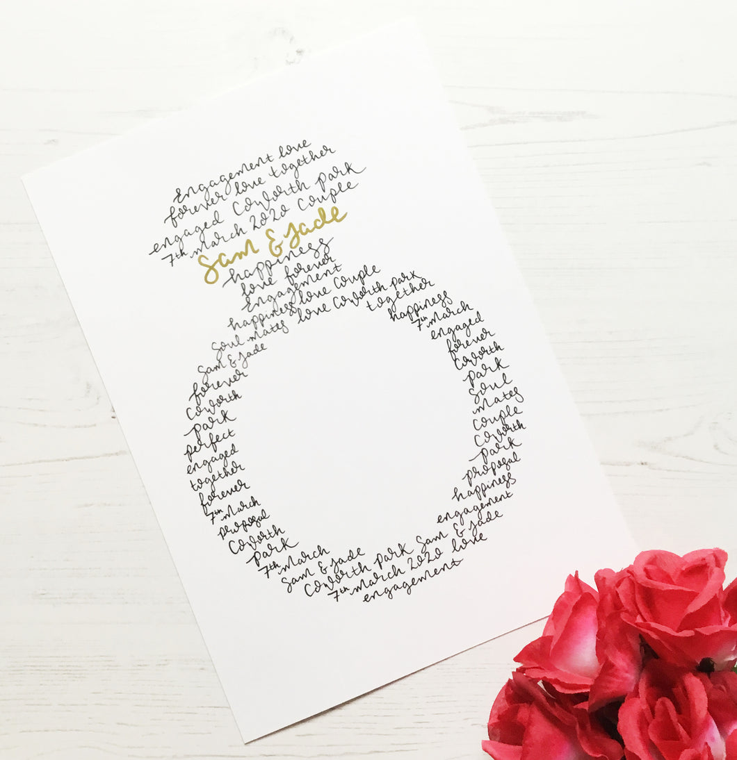 Engagement Ring Personalised Wall Art