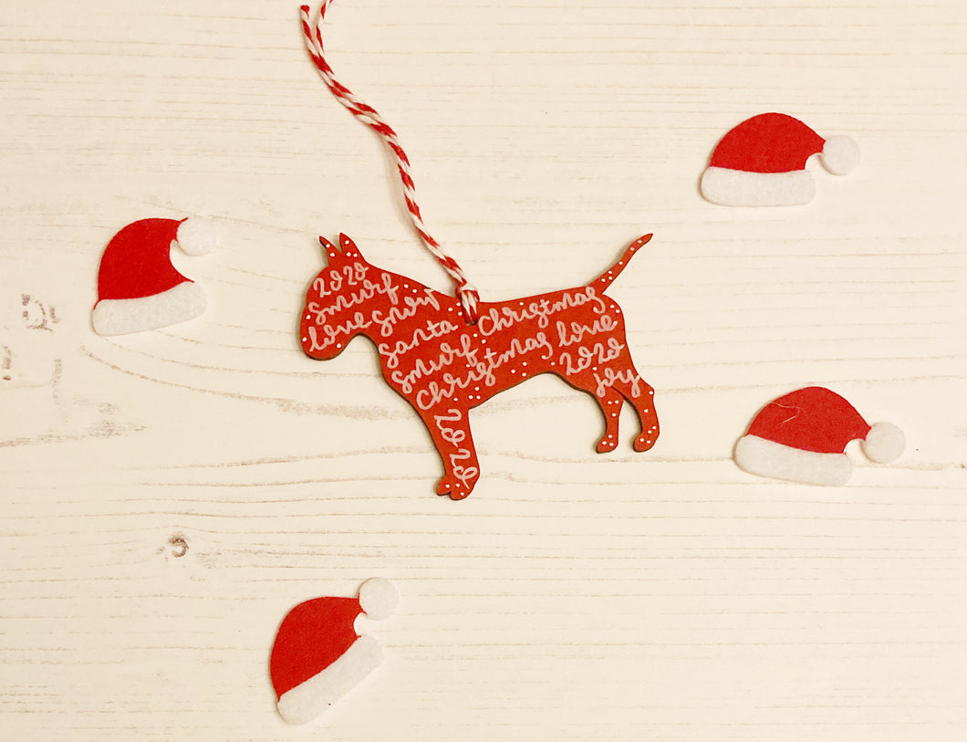 English Bull Terrier Christmas Decoration