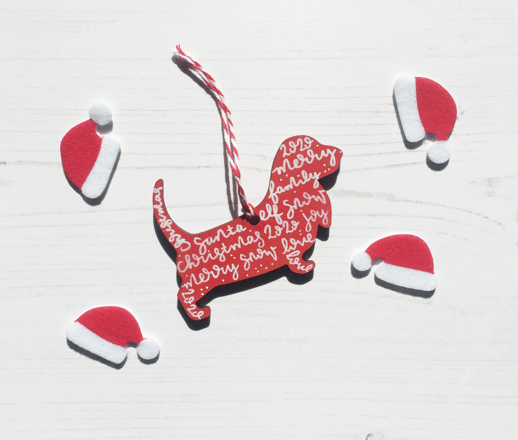 Basset Hound Christmas Decoration