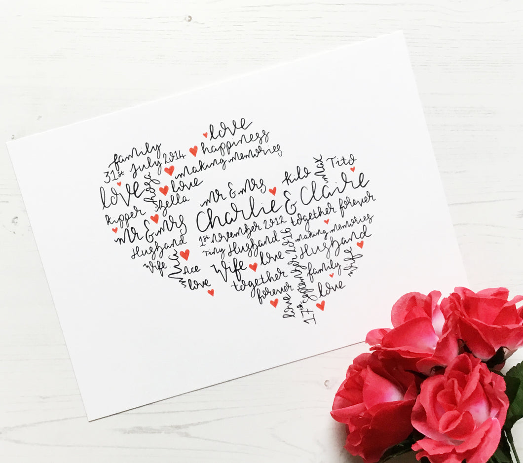 Two Hearts Personalised Wall Art