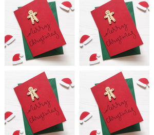 Gingerbread Man Pack of 4 Christmas Cards