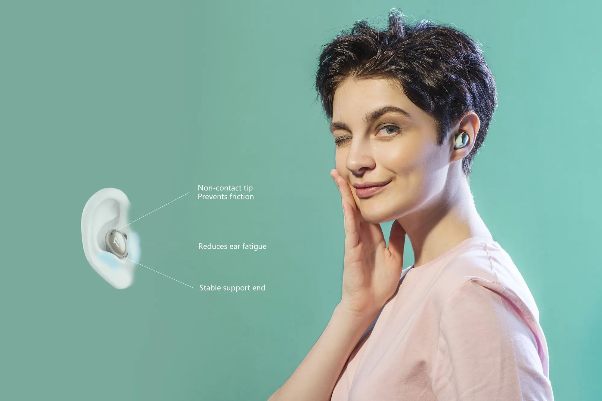 Long-lasting comfort from a streamlined design with multiple ear tip sizes provided.
