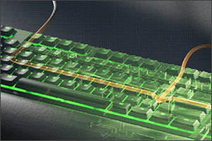 CABLE ROUTING OPTIONS The Razer Ornata V2 is designed with grooves that allow you to neatly tuck in its cable and feed it out in any direction, so you can keep your desktop clear of clutter and mess.
