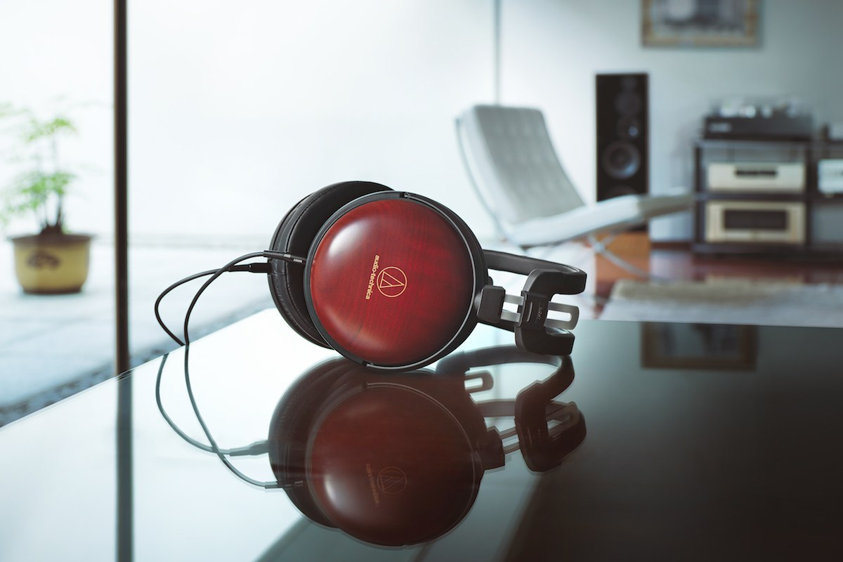 Audio-Technica ATH-AWAS Audiophile Closed-back Dynamic Wooden Headphones on the desk with Hi-Fi Set in the background